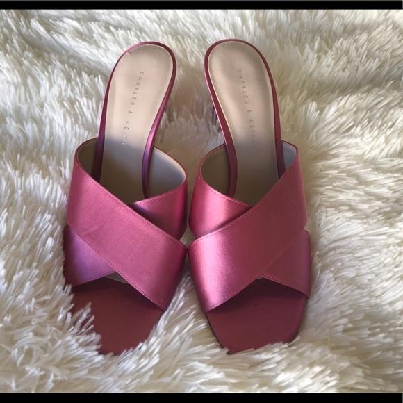61df70655c9 Charles & Keith pink satin mule slide heels NWT